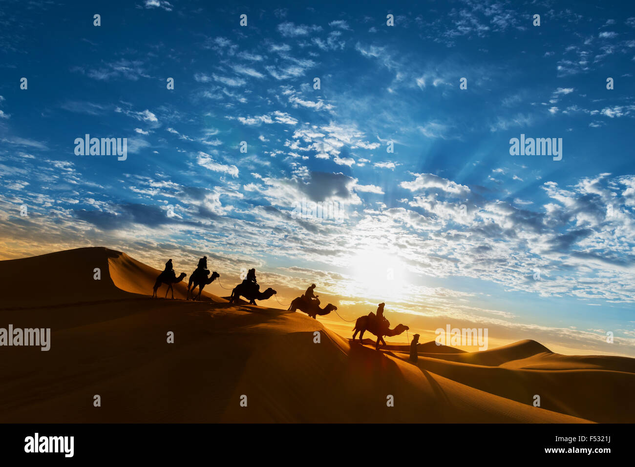 Caravan in the desert during sunrise against a beautiful cloudy sky, Erg Chebbi, Merzouga, Morocco. Stock Photo
