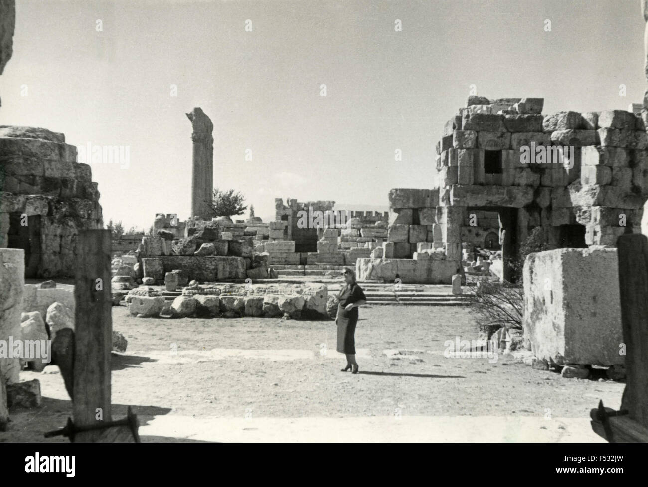 The ruins of the Altar of Sacrifice , Baalbek , Lebanon - Stock Image