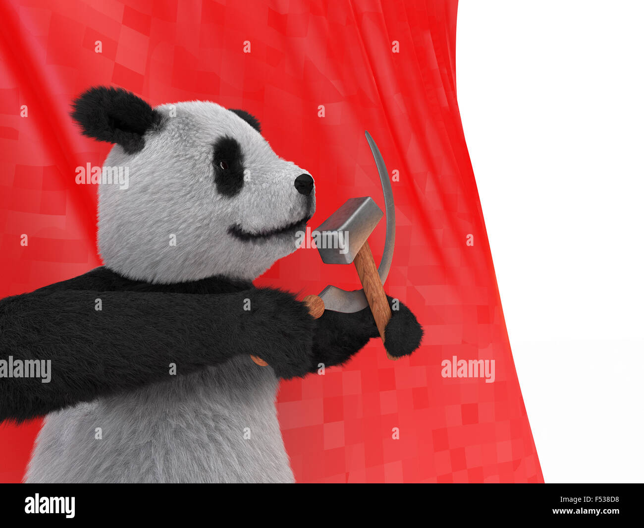the inspired personage type of black-and-white Chinese panda, also referred to as bamboo bear holding in its paws - Stock Image