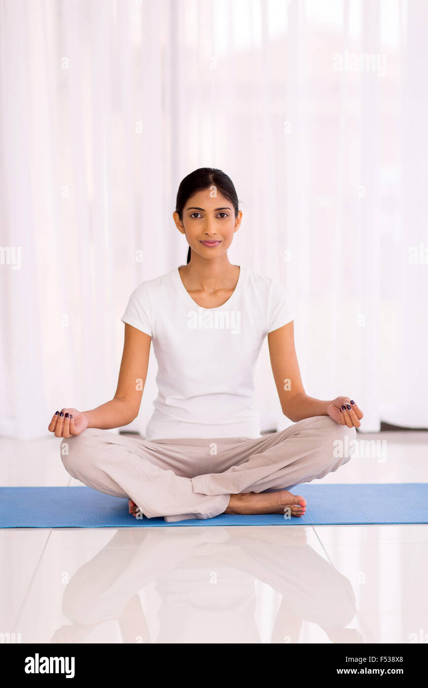 Pretty Young Indian Woman Yoga Exercise At Home Stock Photo Alamy