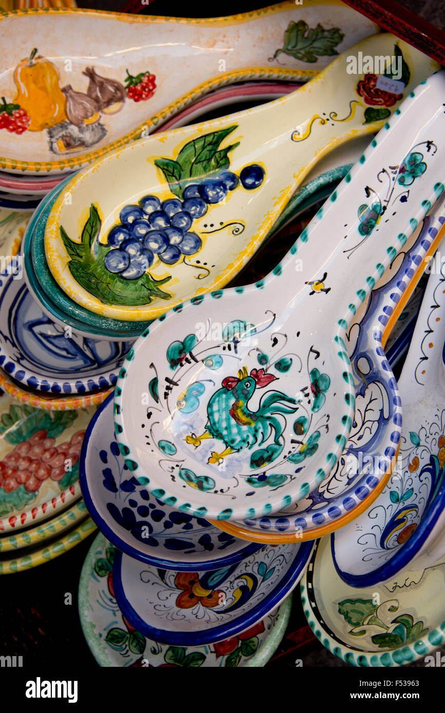 Italy Orvieto. Traditional Italian pottery for sale in the narrow streets of Orvieto spoon rest. & Italy Orvieto. Traditional Italian pottery for sale in the narrow ...