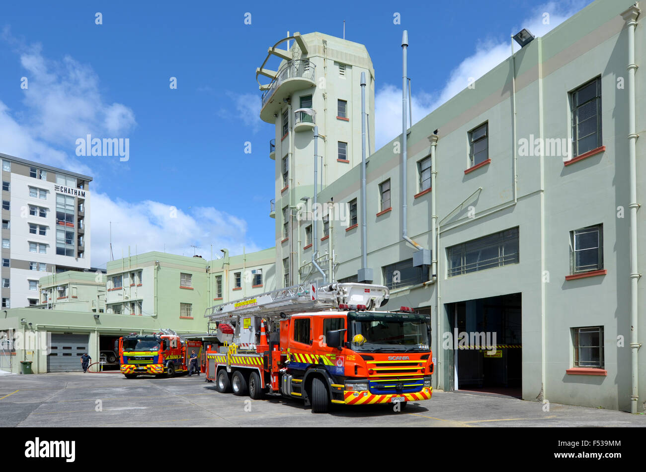 AUCKLAND  - OCT 27 2015:Fire engines in Auckland City Fire Station in Auckland New Zealand.It's one of the 3 - Stock Image