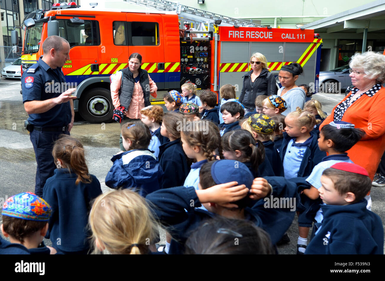 AUCKLAND  - OCT 27 2015:Fire Safety Education day in Auckland City Fire Station, New Zealand.Each year over 20,000 - Stock Image