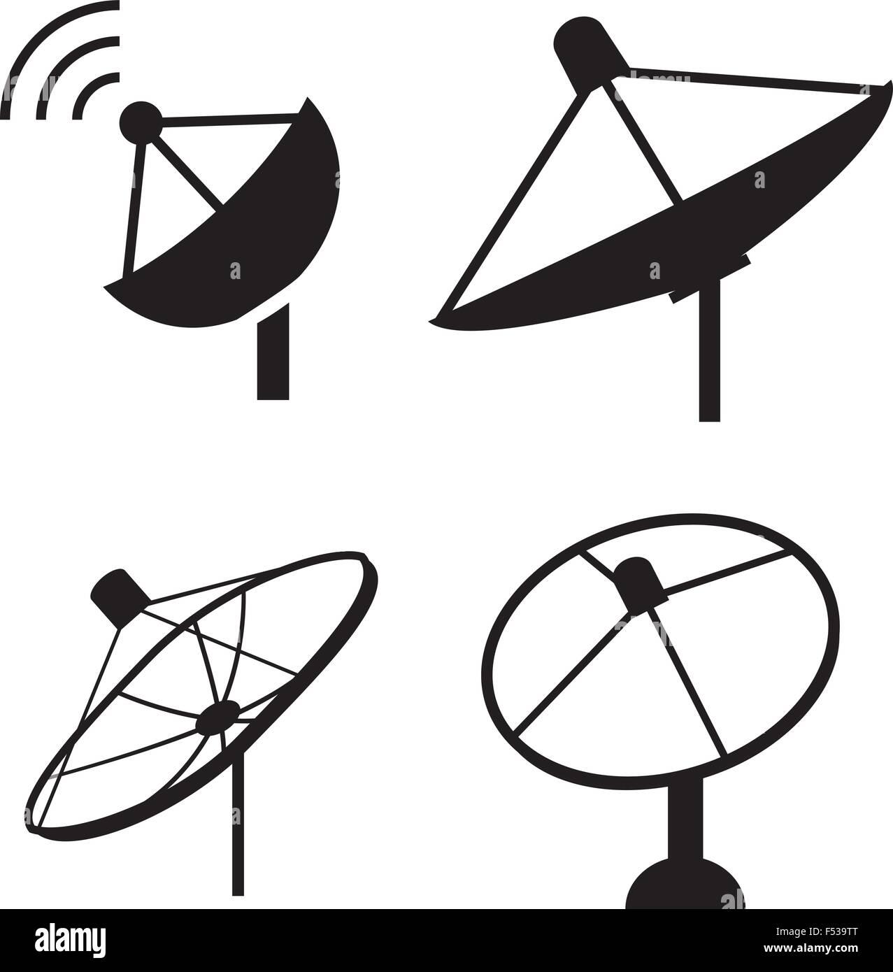 Set of silhouette satellite dish icon, vector - Stock Image