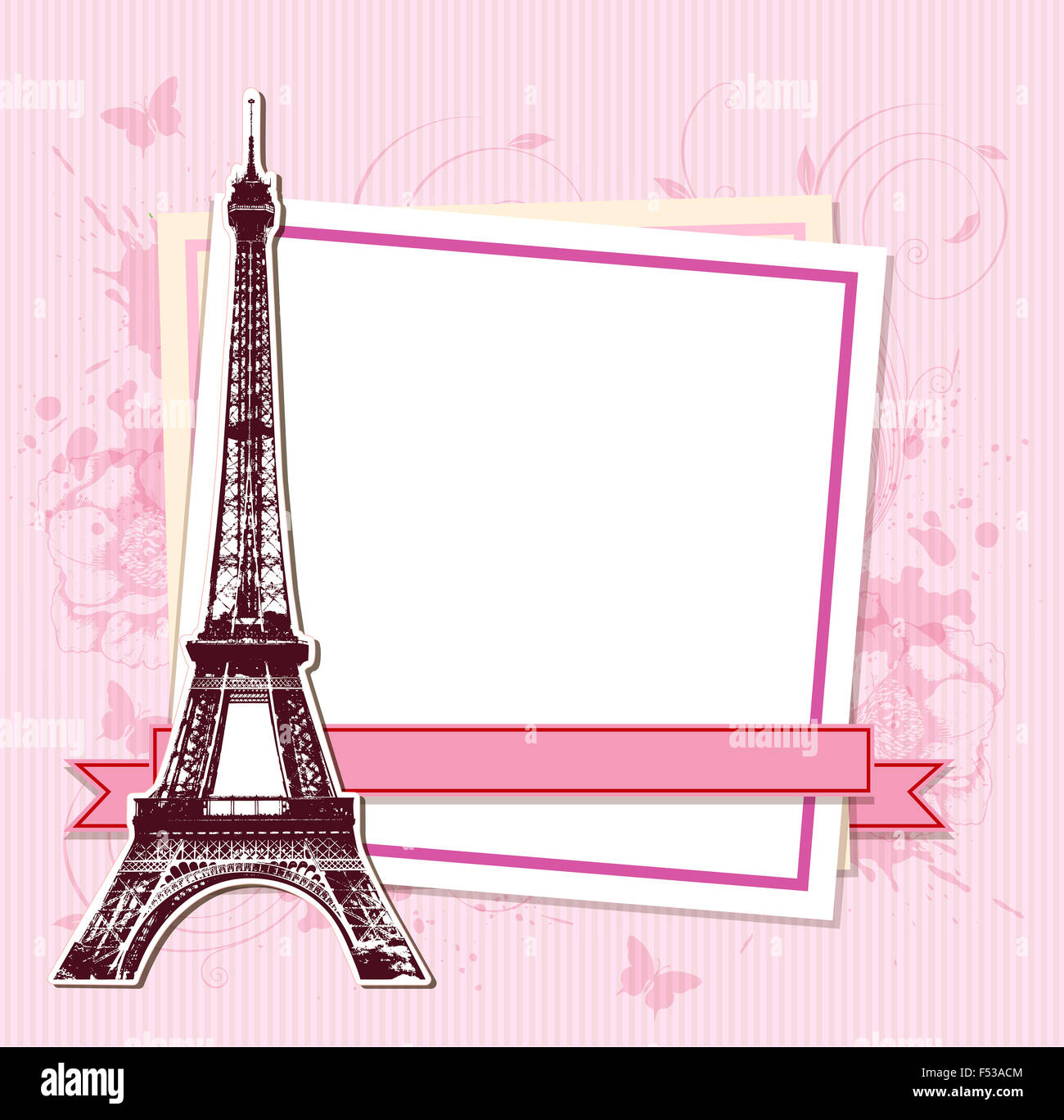 White frame with Paris and the Eiffel Tower on a pink background ...