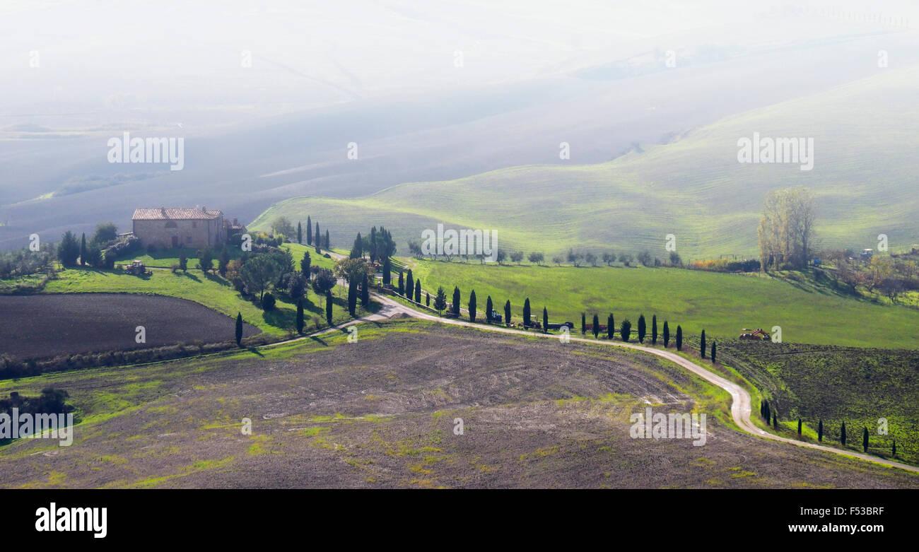 Europe, Italy, Tuscany. Winding road leading to a villa near the hilltown of Pienza. Stock Photo