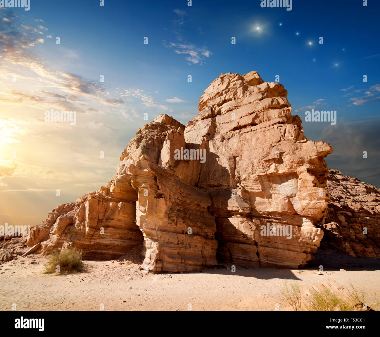 Early morning in mountains of Sinai canyon - Stock Image