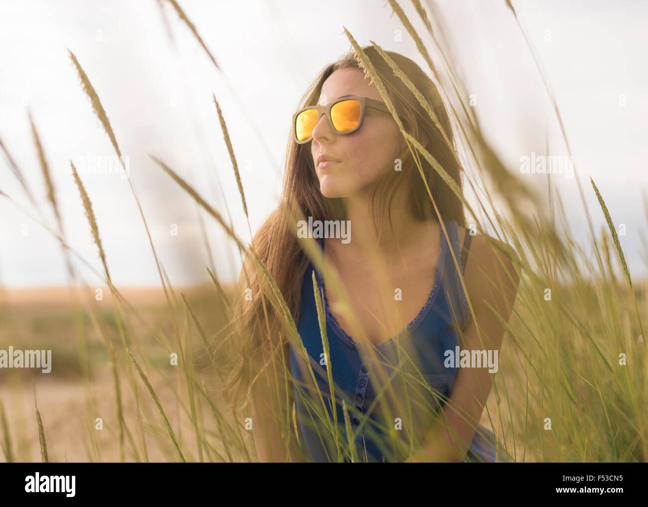 Young woman feeling blue. Stock Photo