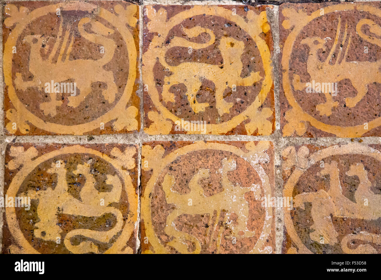 Medieval painted stone floor tiles inside Winchester Cathedral Stock ...