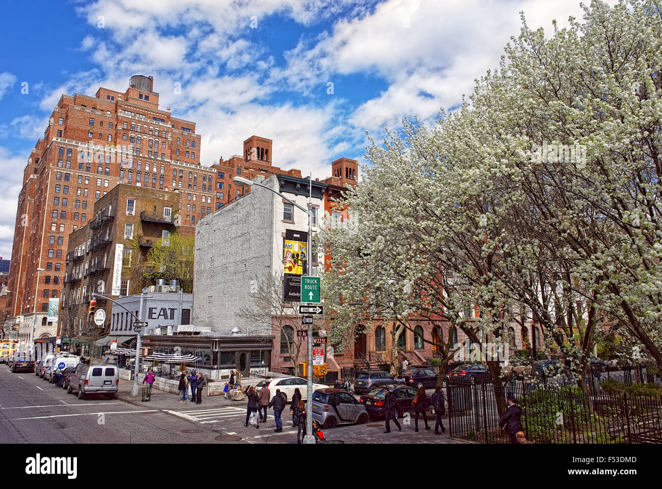 NEW YORK, USA - APRIL 24, 2015: Intersection of 10th Avenue and 22nd Street in Chelsea near Clement Clarke Moore Stock Photo