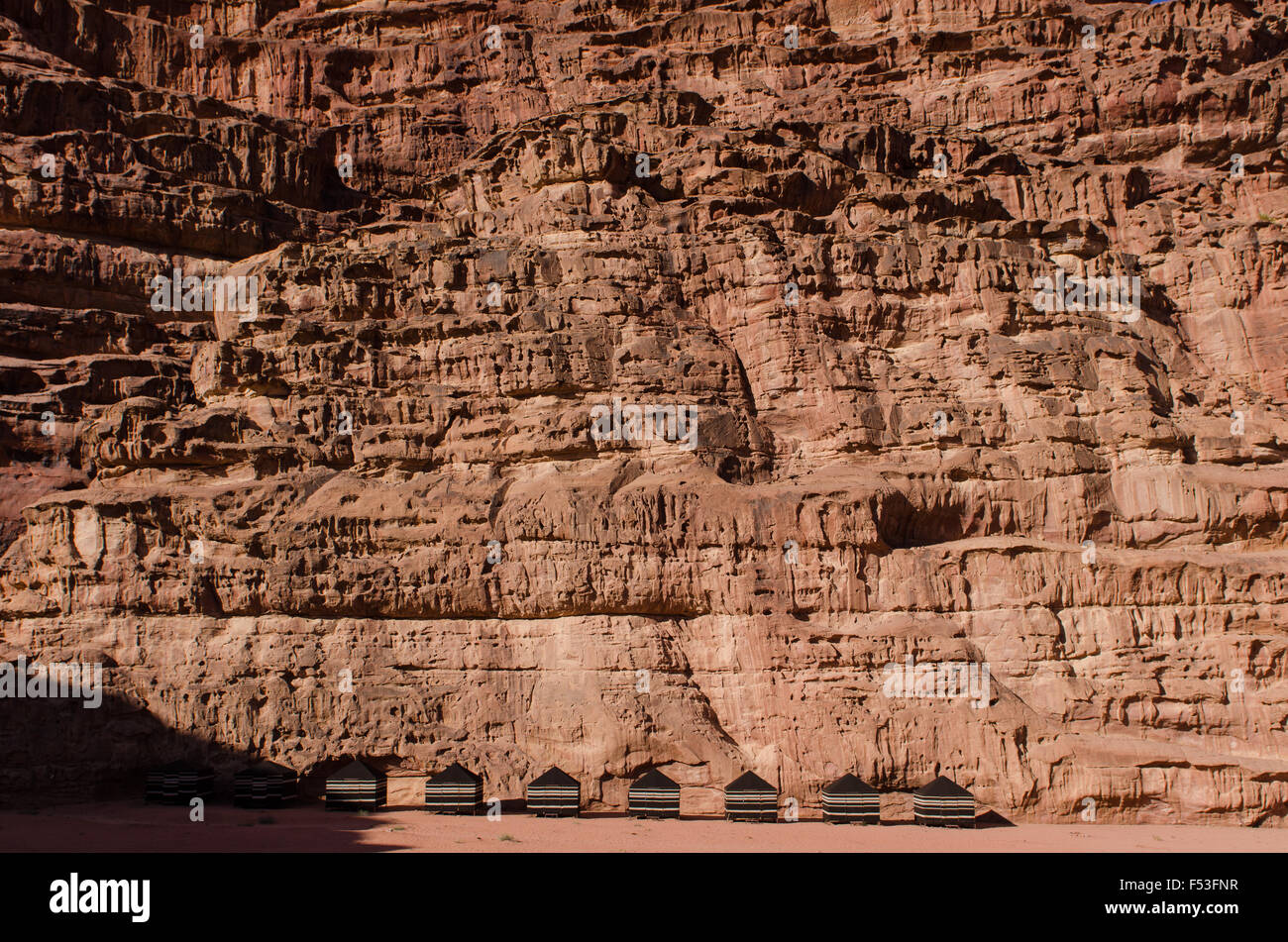 permanent tents set up in the lee of a cliff Wadi Rum Jordan & permanent tents set up in the lee of a cliff Wadi Rum Jordan Stock ...
