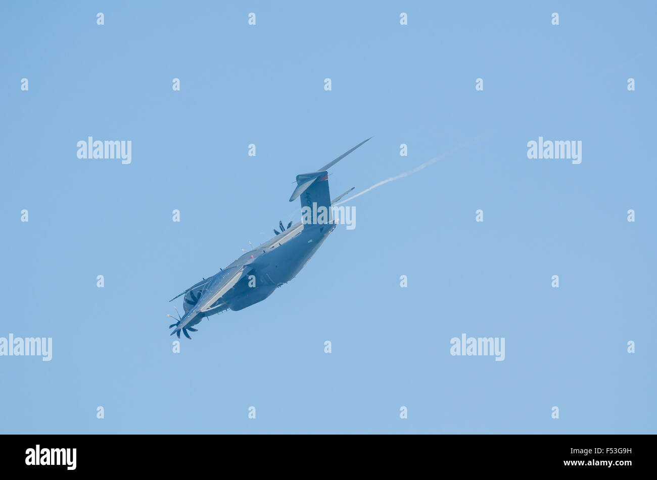 SAN JAVIER, SPAIN, OCTOBER18, 2015: Low pass of an Airbus A400M airlifter at the air show celebrating Spains Patulla - Stock Image