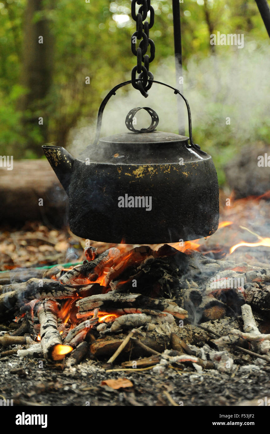 Kettle Boiling over open fire In The woods Stock Photo ...