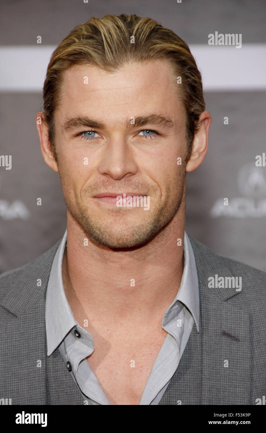 """April 11, 2012. Chris Hemsworth at the Los Angeles premiere of """"The Avengers"""" held at the El Capitan Theater, Los Stock Photo"""