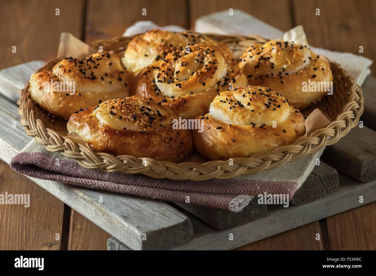 Bureks. Balkan baked filo pastry snack. - Stock Image