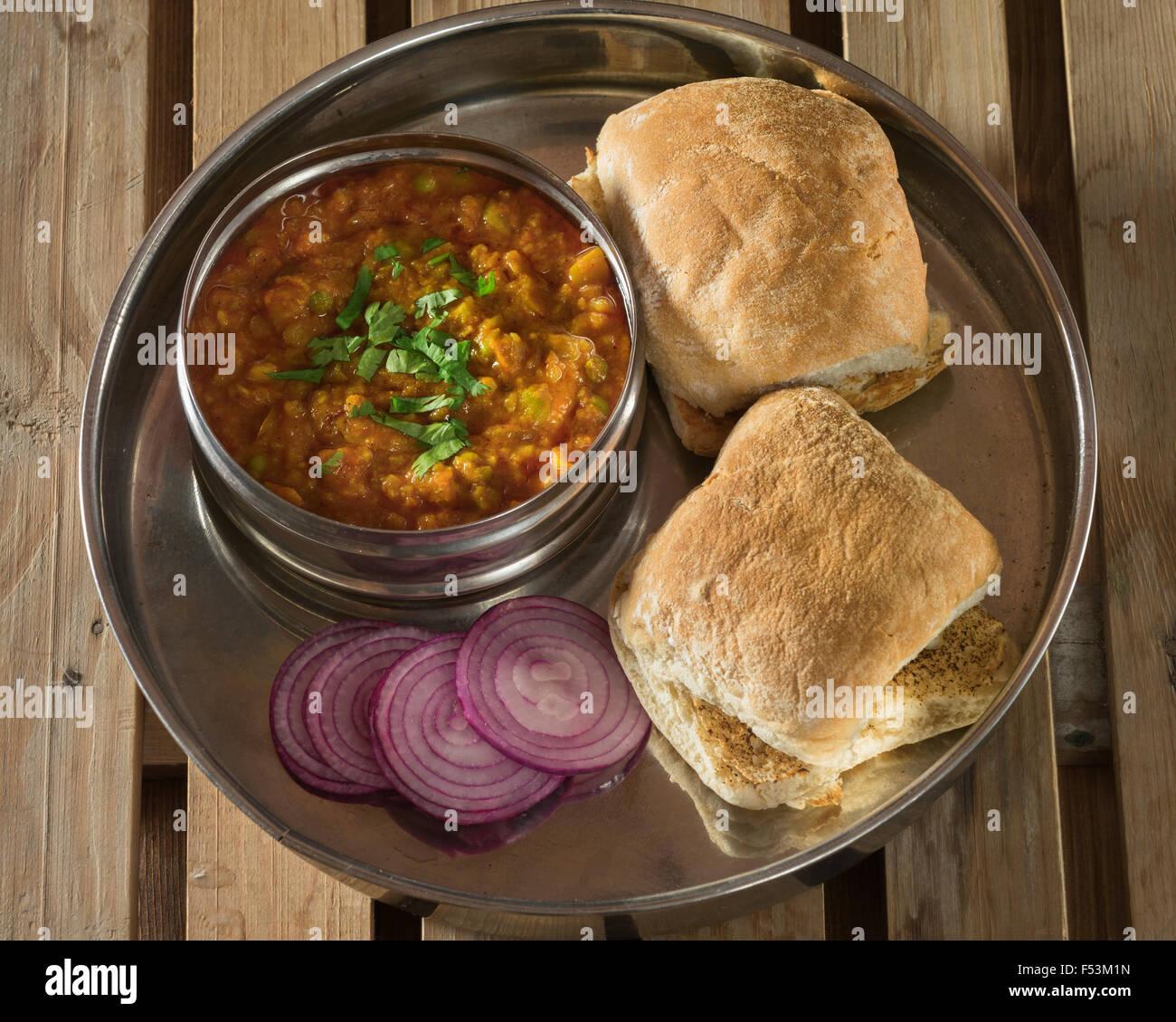 Pav bhaji. Indian street food. - Stock Image