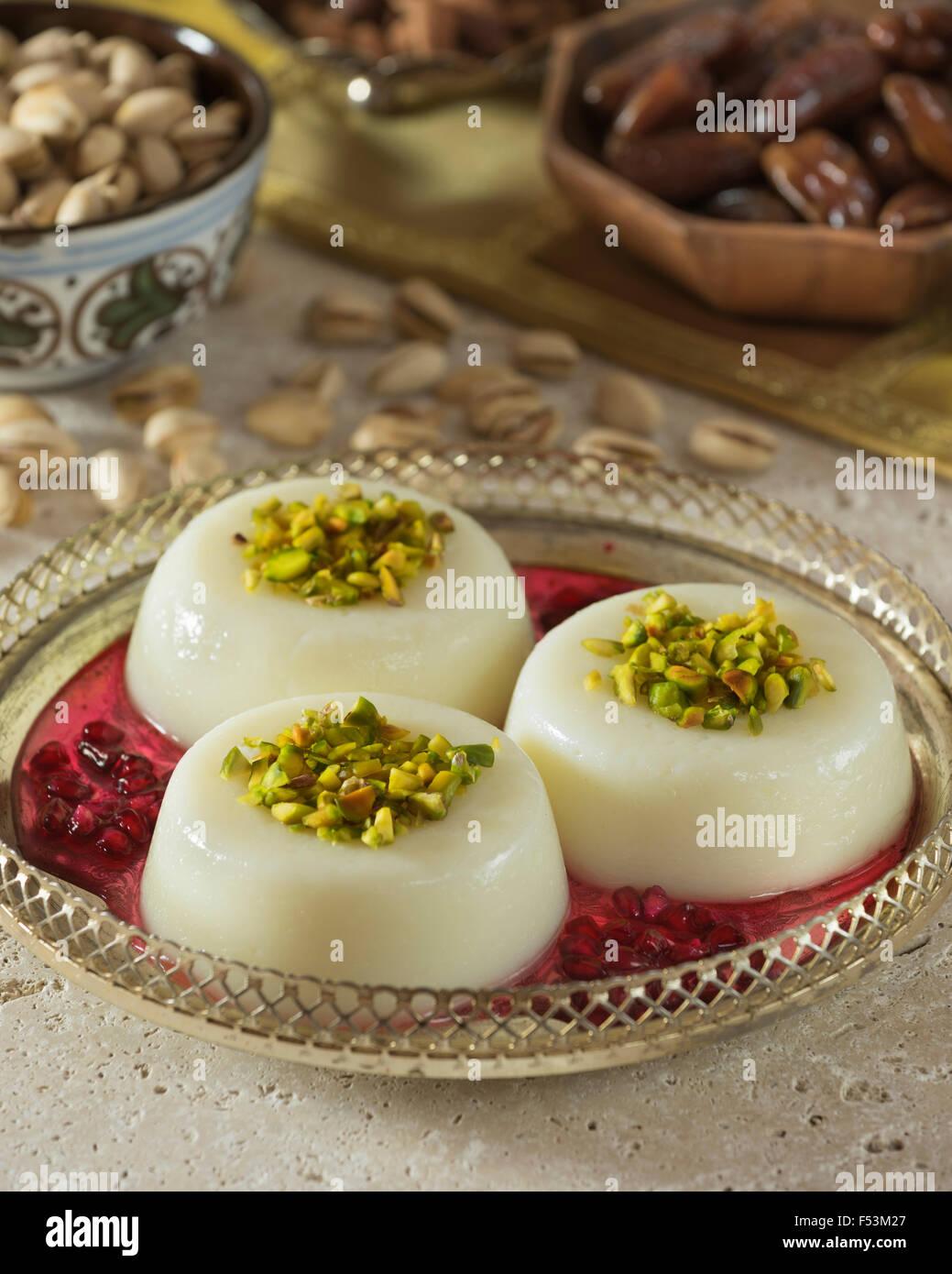Mouhalabieh. Lebanese milk dessert. Lebanon Food - Stock Image