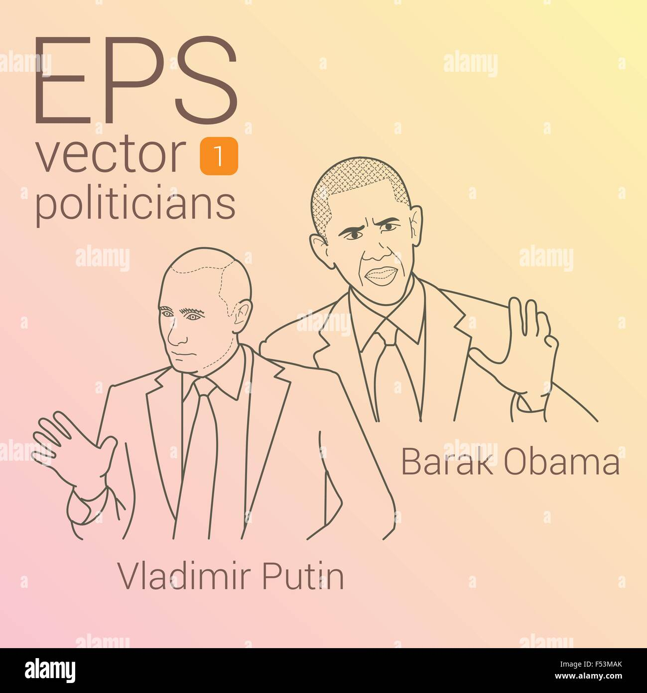 Contour linear vector portrait of US President Barack Obama and leader Russian Federation Vladimir Putin. beginning - Stock Image