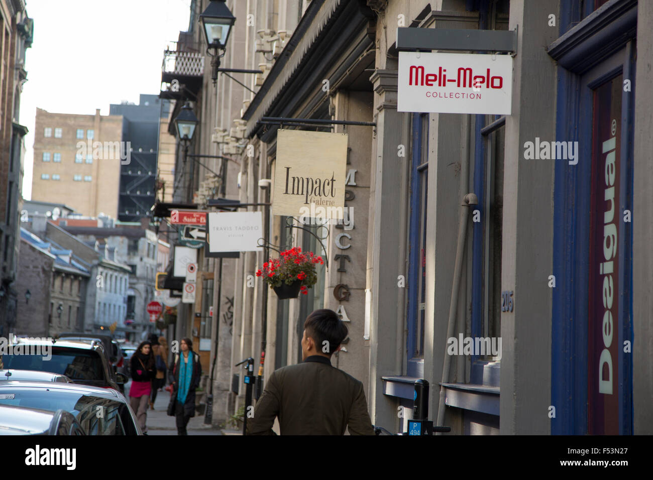 Shop and Boutiques of Old Montreal, Quebec Canada - Stock Image