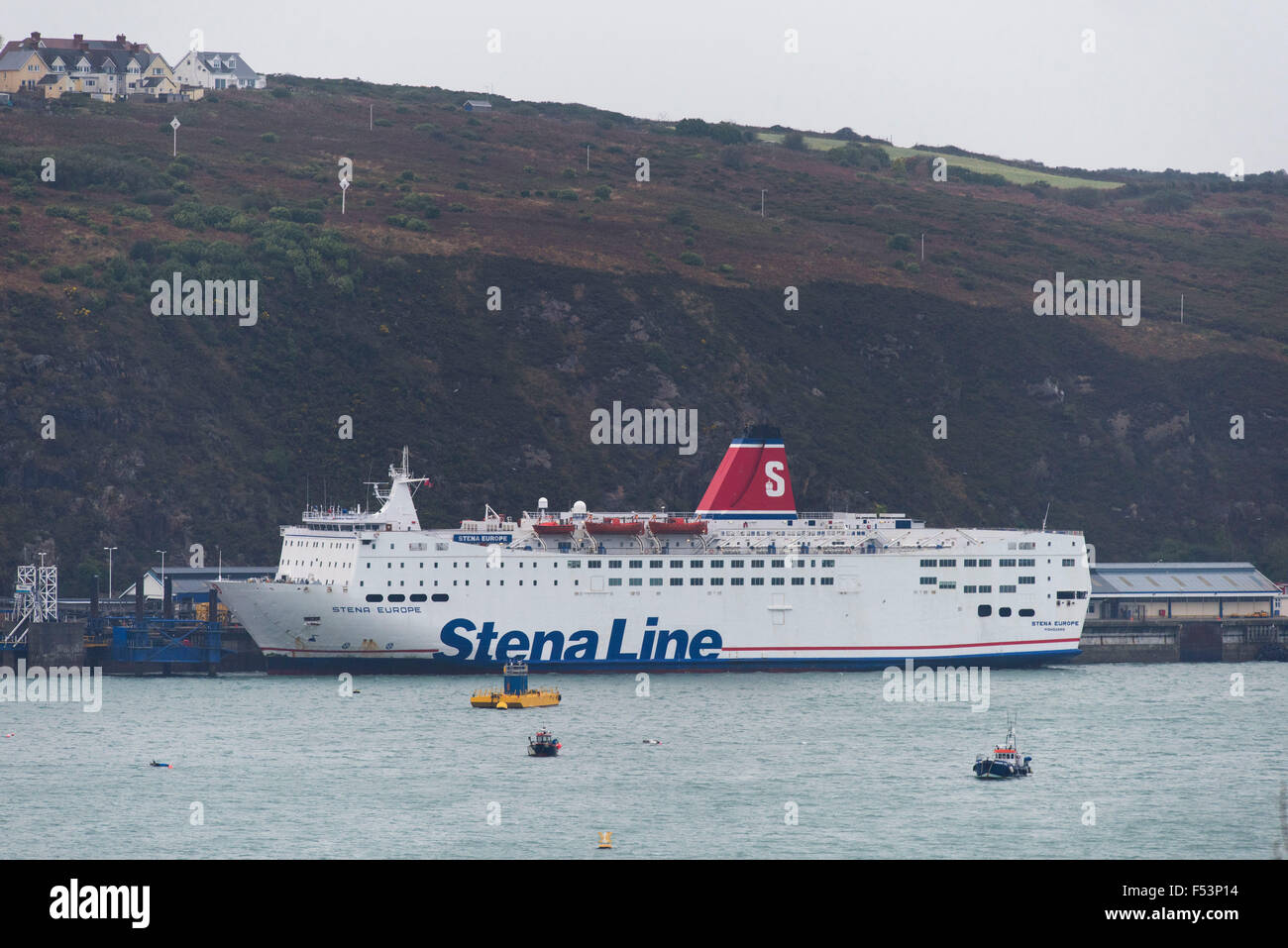 A Stena line ferry at Fishguard Harbour, Goodwick, West Wales. - Stock Image
