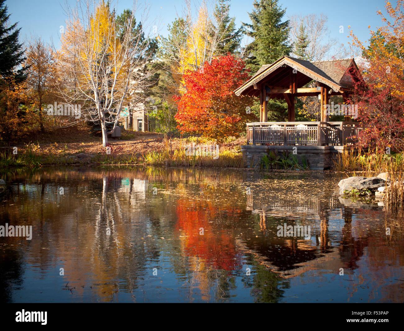 The covered pavilion and koi pond at Garden Park (Boffins Public House), Innovation Place in Saskatoon, Saskatchewan, Stock Photo