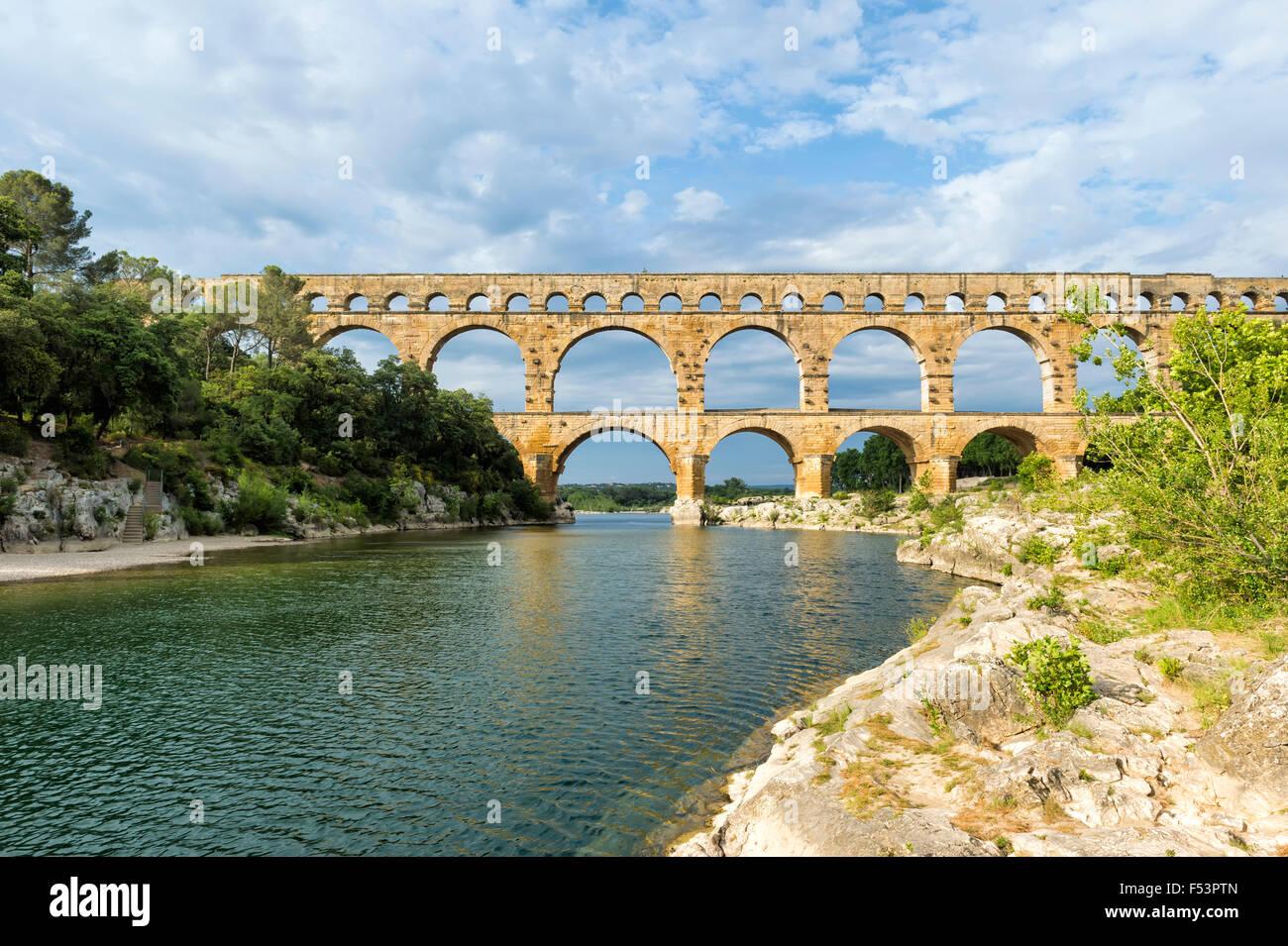Pont du Gard, Languedoc Roussillon region, France, Unesco World Heritage Site - Stock Image