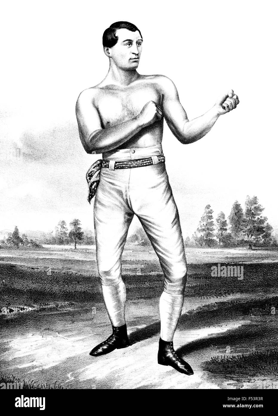 Vintage portrait of English bare-knuckle boxer Tom Sayers (1826 - 1865). Sayers, born in Brighton, Sussex, had his - Stock Image