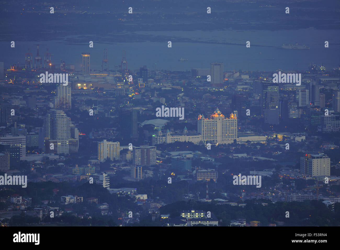 Cebu City viewed from Tops Busay. Stock Photo