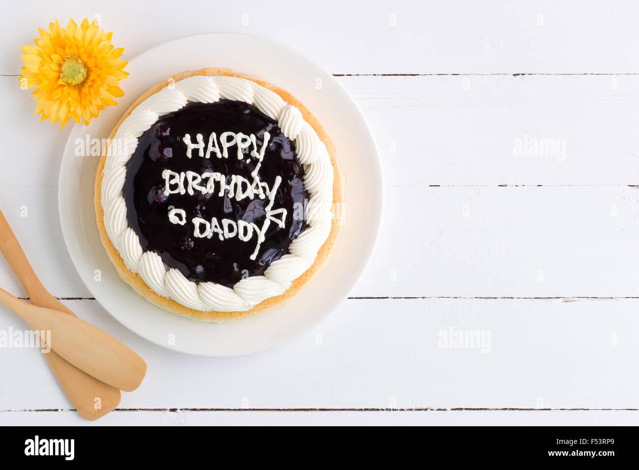 Blueberry Cheese Cake For Daddy Birthday Party Stock Photo 89209633