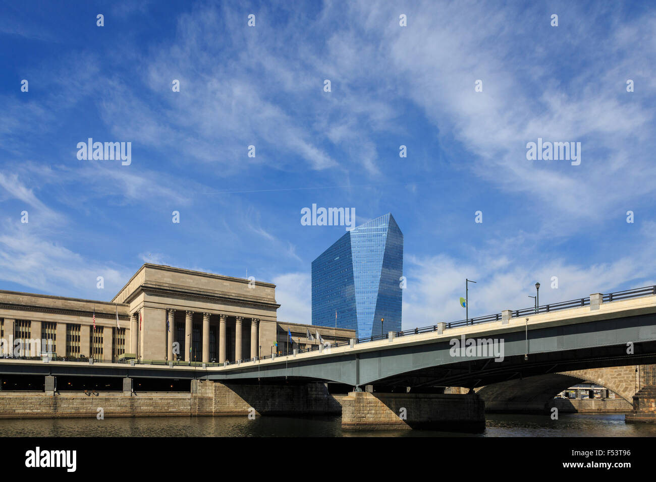 30th Street Train Station and Cira Center, University City, Philadelphia, Pennsylvania Stock Photo