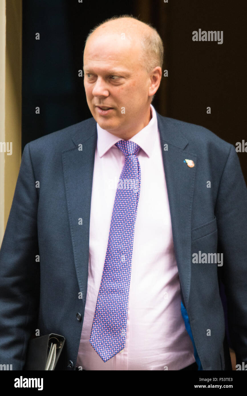 Downing Street, London, UK. October 27th 2015. Leader of the Commons Chris Grayling leaves 10 Downing Street after - Stock Image
