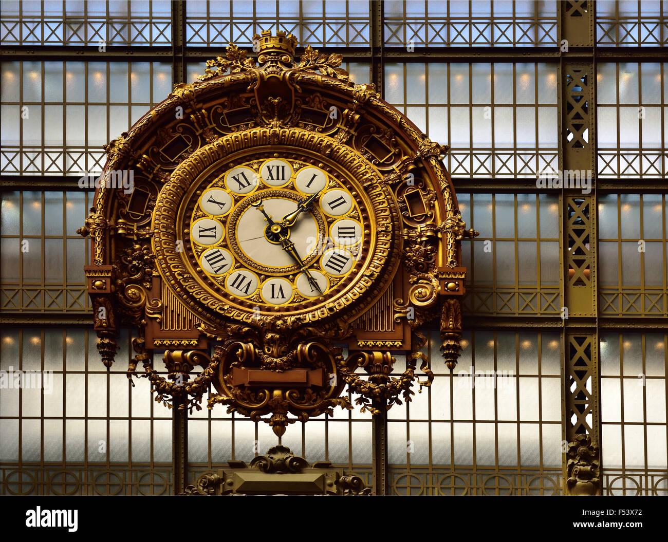Belle Epoque train station clock, Musée Quai d'Orsay, Paris, Ile de France, France Stock Photo