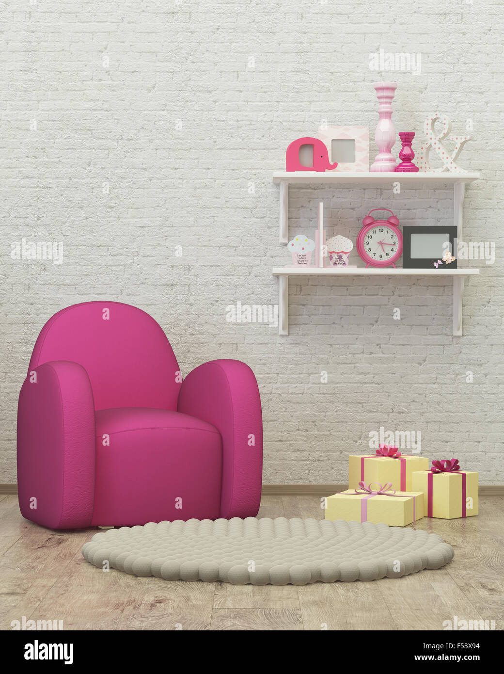 kids room interior 3d render image, pouf,presents - Stock Image