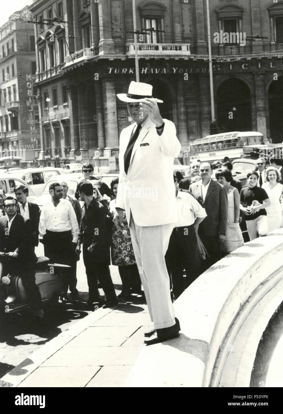 The American actor John Wayne walking in Rome , Italy - Stock Image