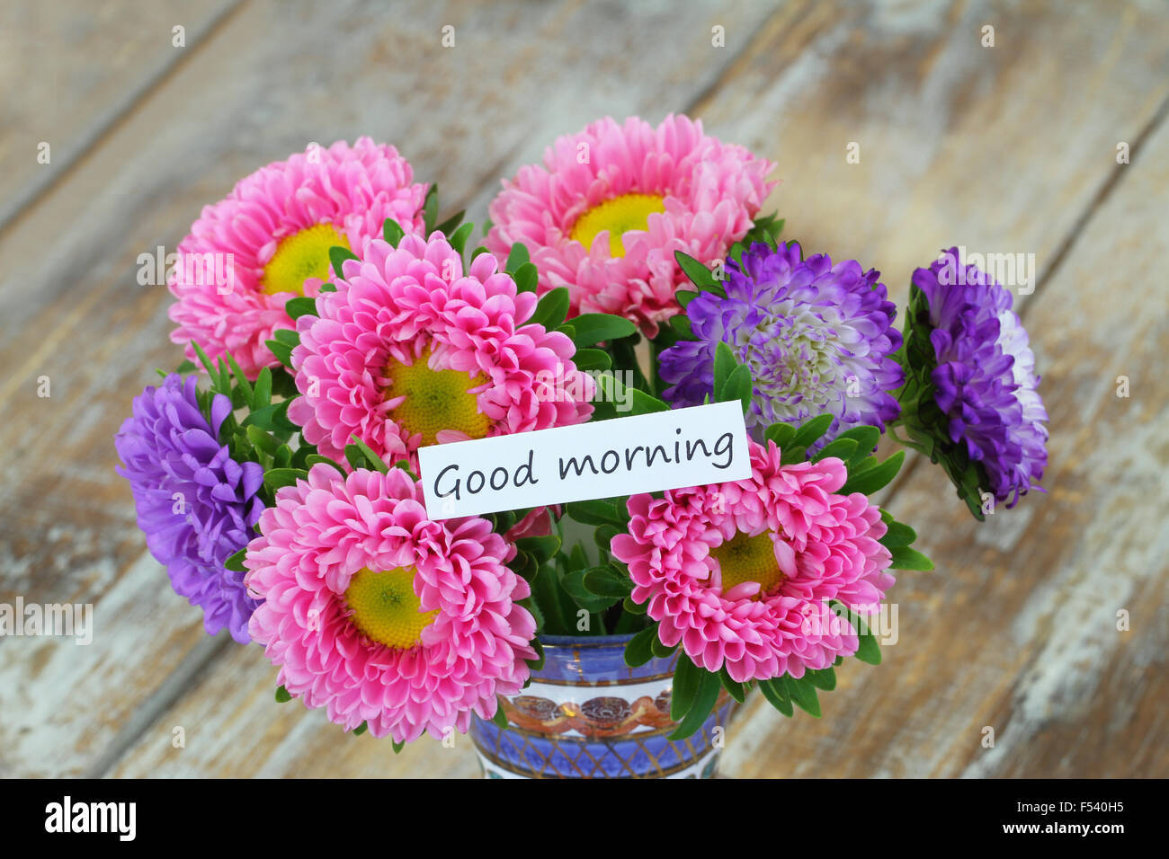 Good morning card with colorful aster flowers bouquet on rustic ...