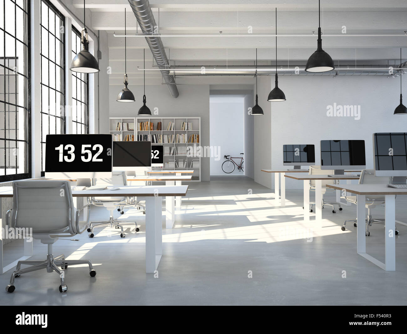 Computer and notebook on the working place. 3d rendering - Stock Image