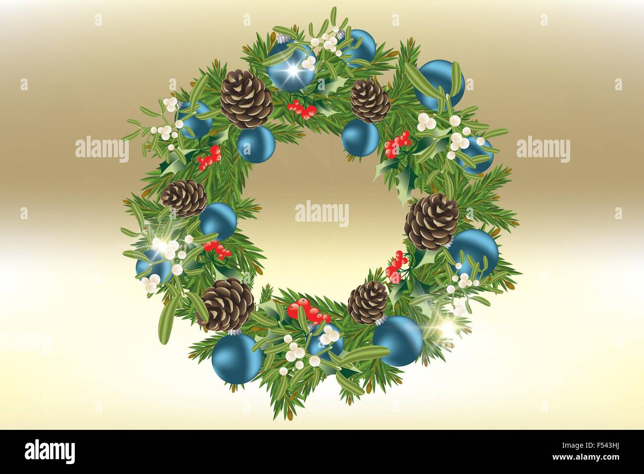 Decorated Christmas wreath with holly, mistletoe, pinecone, blue Christmas baubles on a shimmering golden background - Stock Image