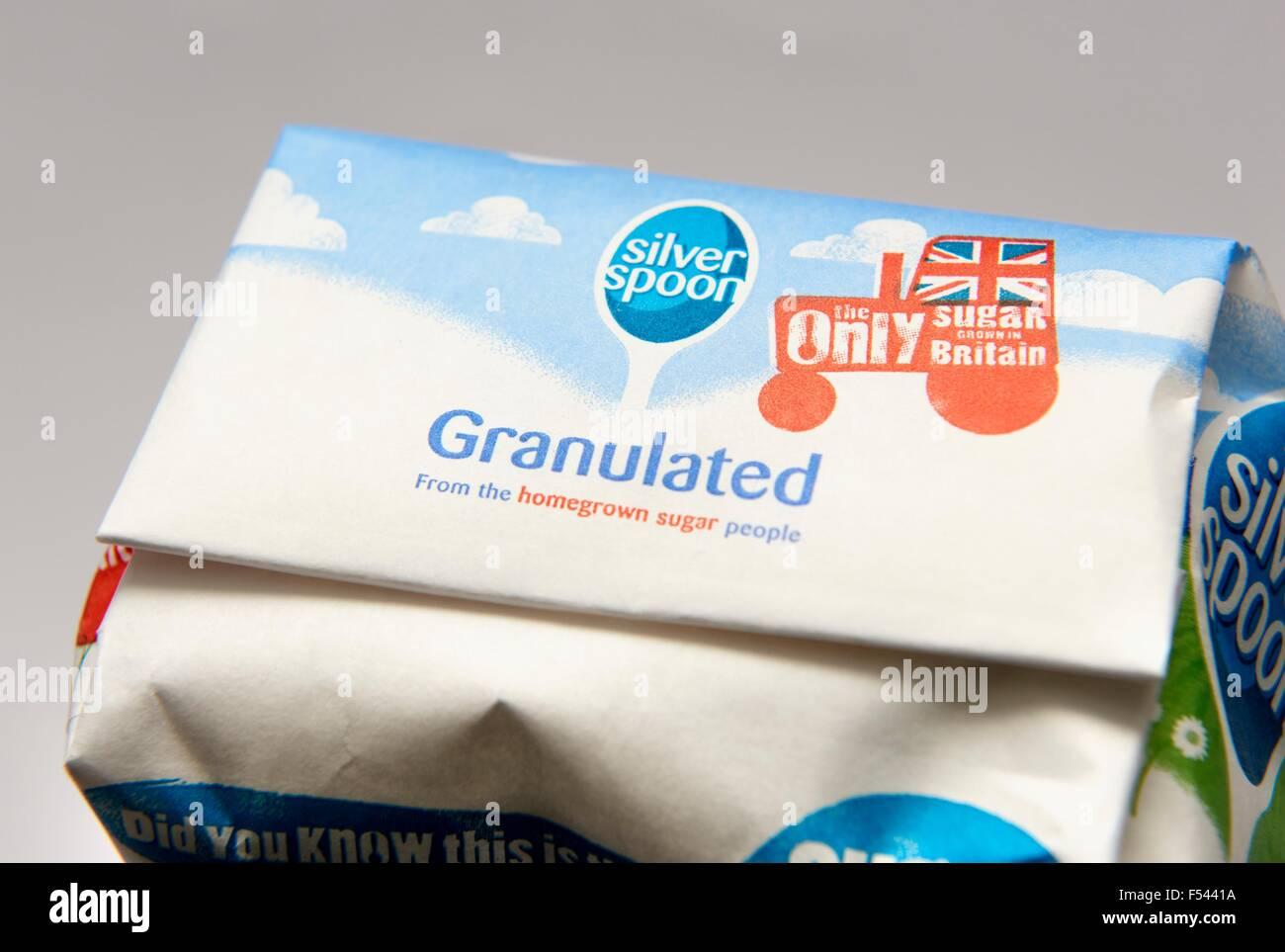 A 1 kilo bag of sugar - Stock Image
