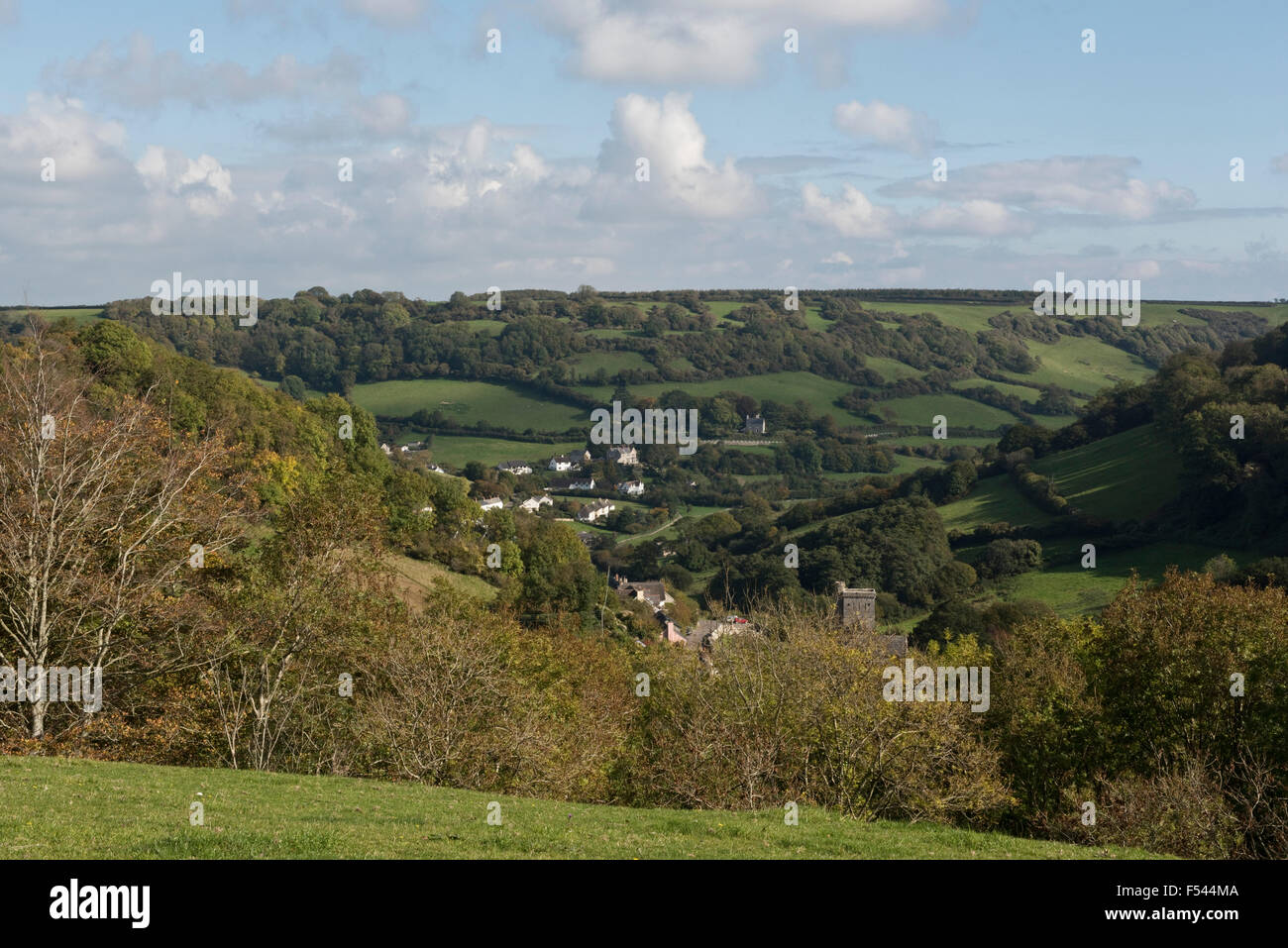 The East Devon village of Branscomble nestling in the folds of three valleys, small fields and woodland on a bright - Stock Image
