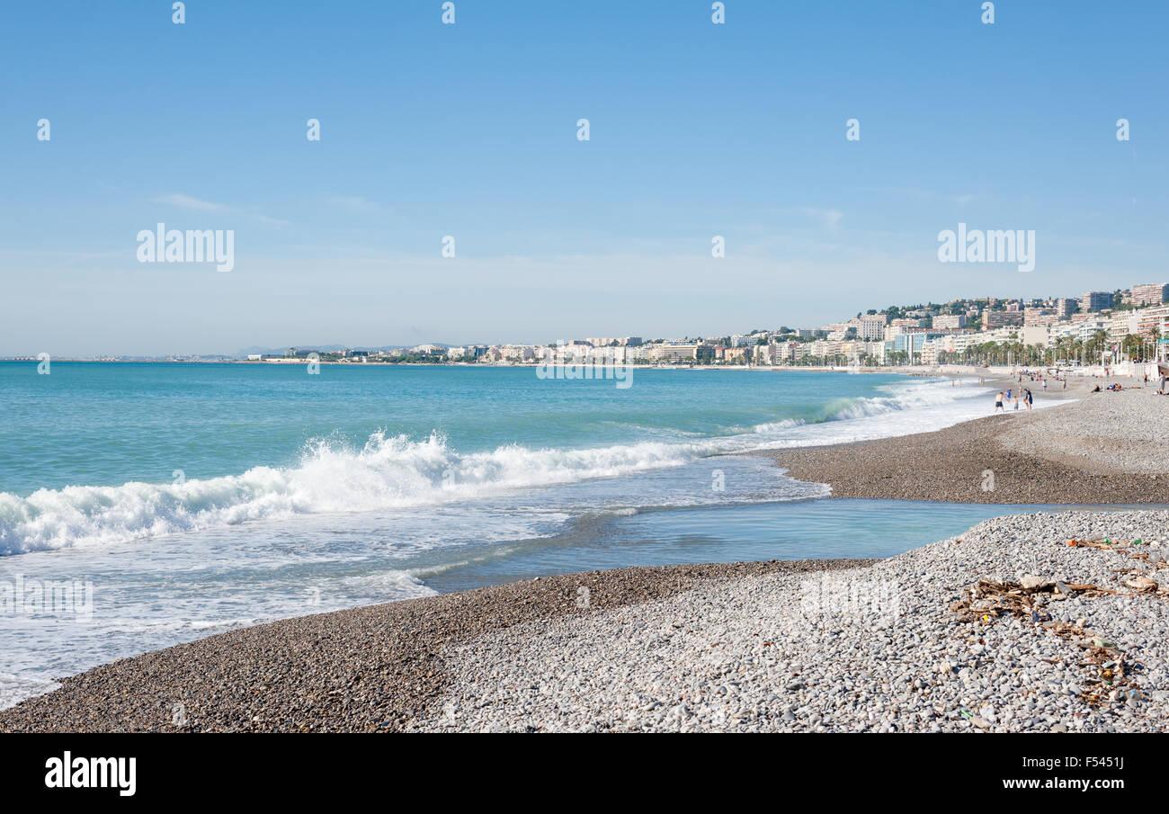 Beach, Nice, France - Stock Image
