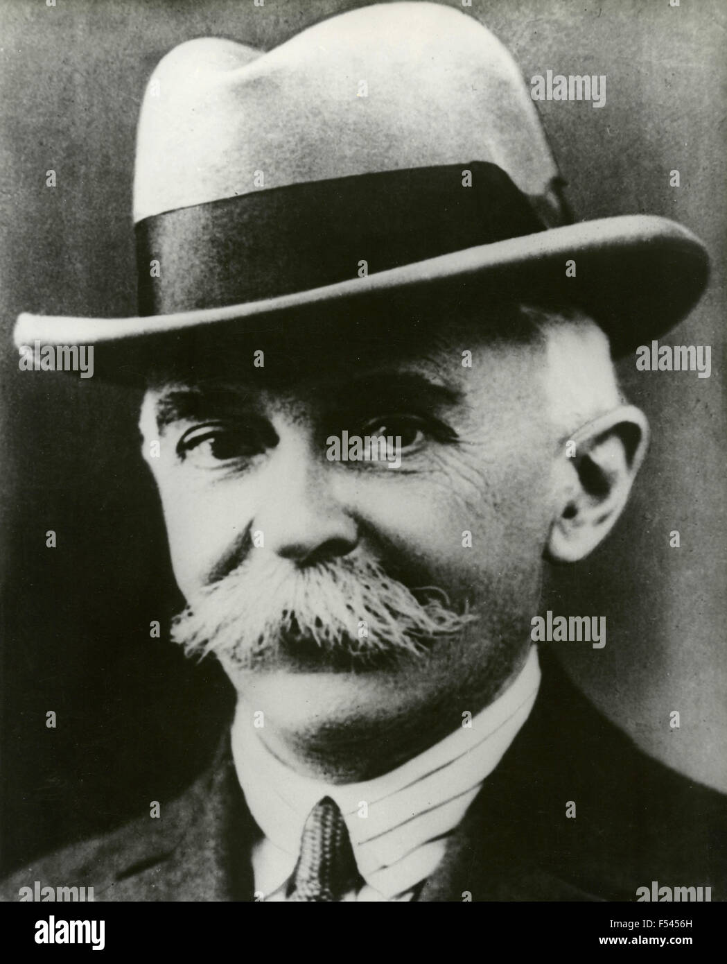 Portrait of the founder of the modern Olympic Games Pierre de Frédy , Baron de Coubertin - Stock Image