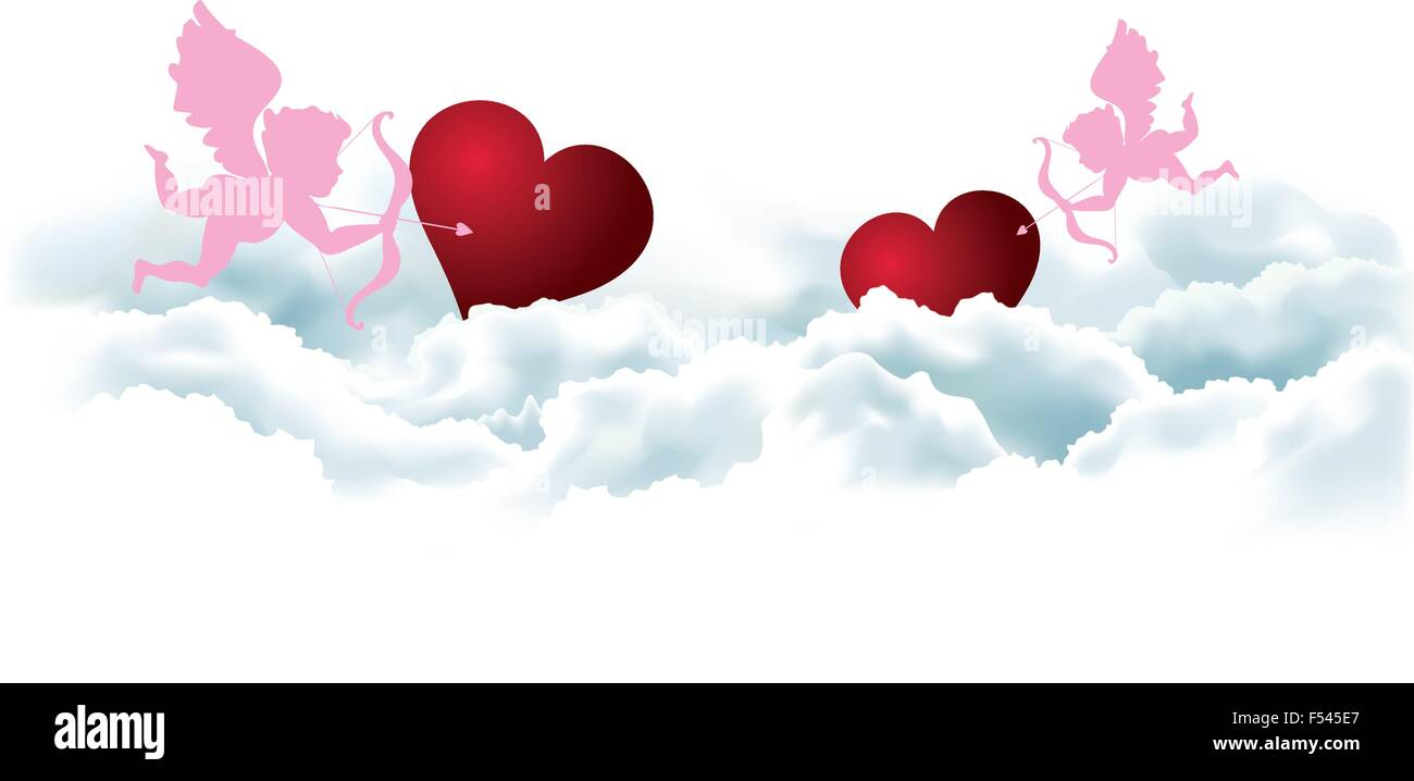 Valentines Day Card Template With Angels And Hearts In Clouds Stock