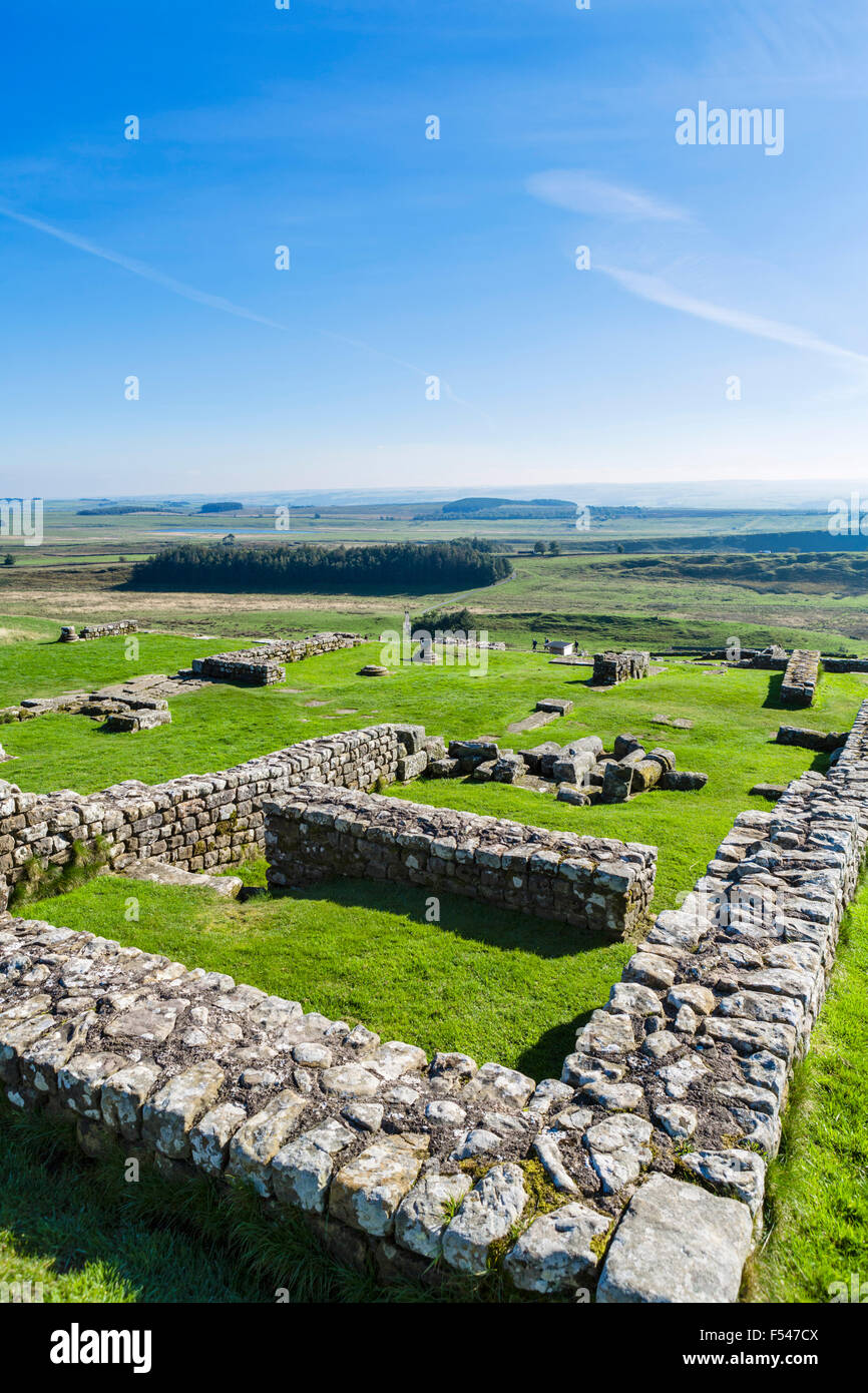 Housesteads Roman Fort at Hadrian's Wall, Northumberland, England, UK - Stock Image