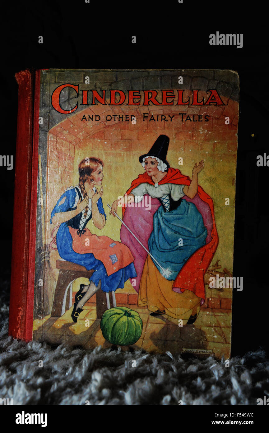 Creepy looking cover of old Cinderella and Other Fairy tales book published by Raphael Tuck & Sons in the 1930s - Stock Image