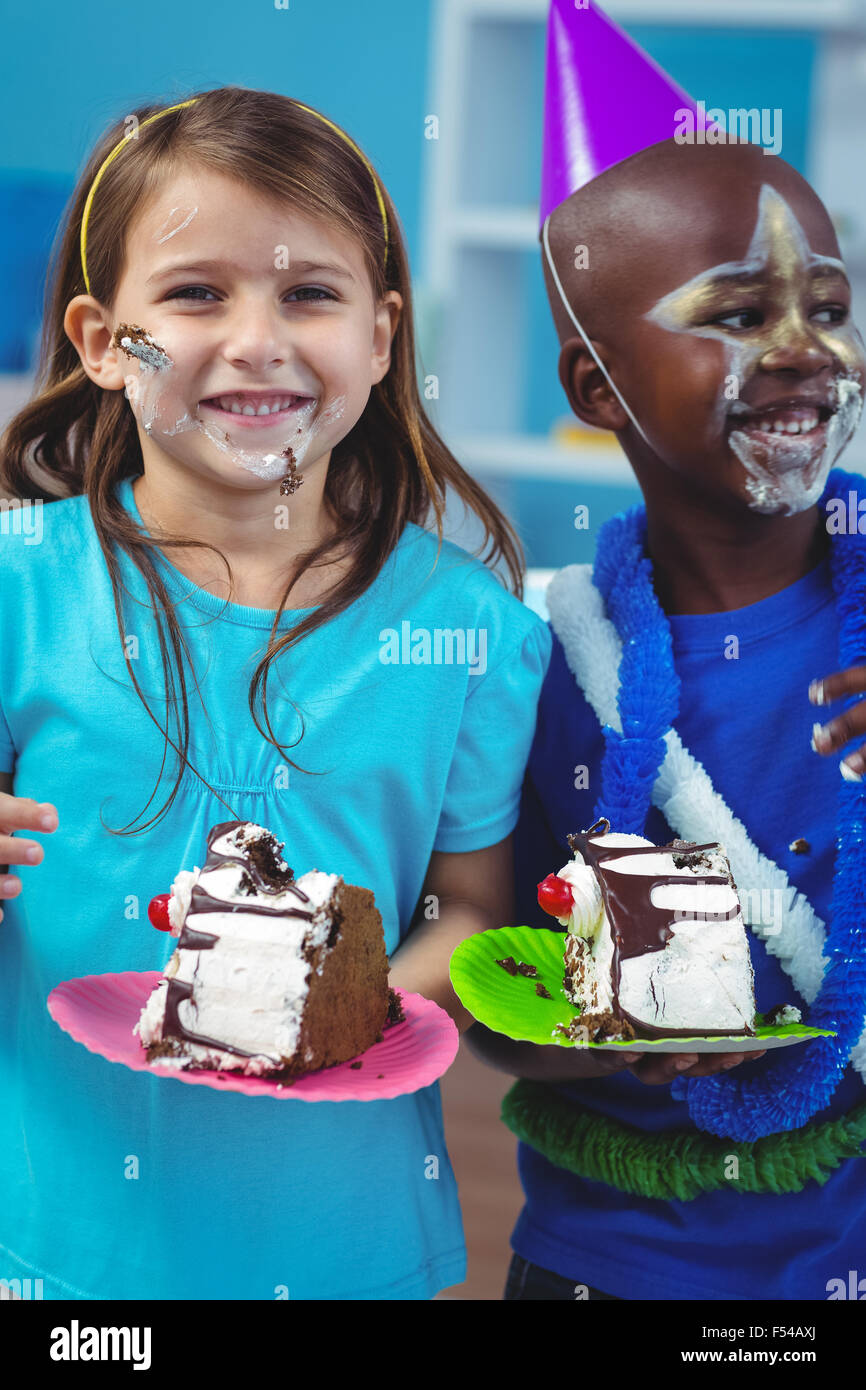 Happy kids eating birthday cake Stock Photo 89221514 Alamy