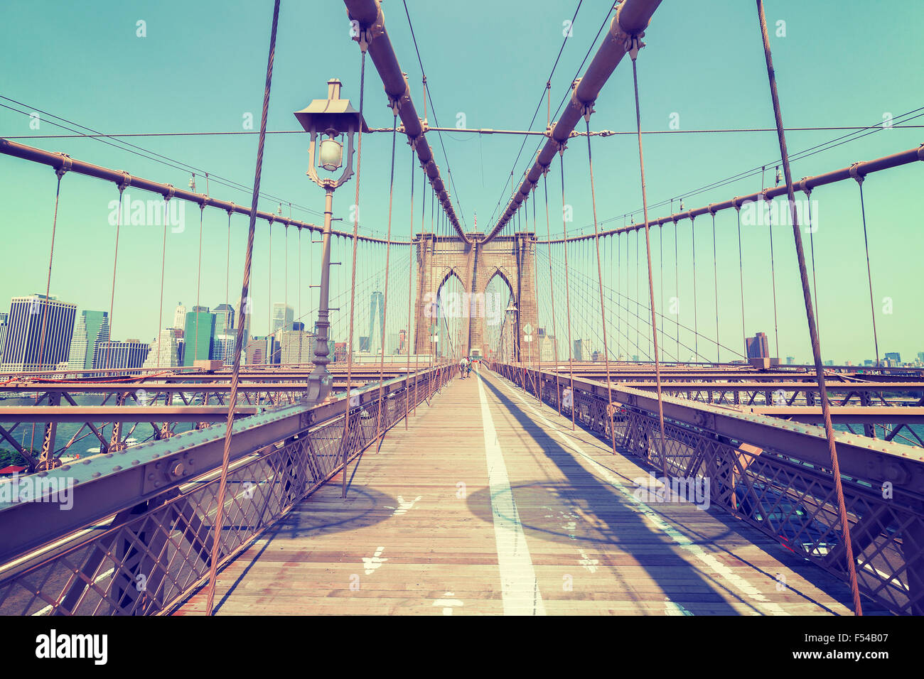 Vintage stylized photo of the Brooklyn Bridge, NYC, USA. - Stock Image