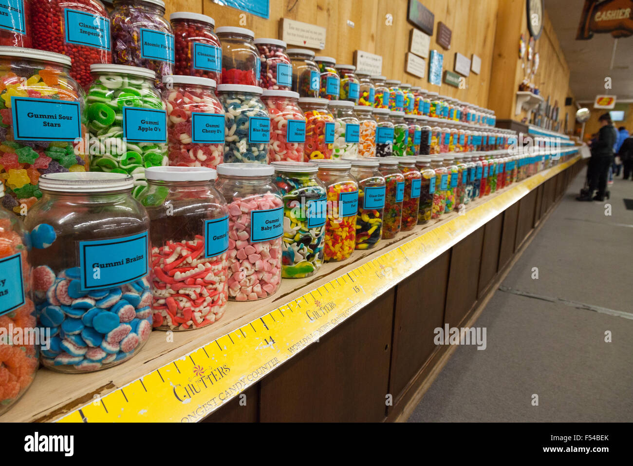 The Worlds Longest Candy Counter, in Chutters Candy Store, Littleton, New Hampshire USA - Stock Image