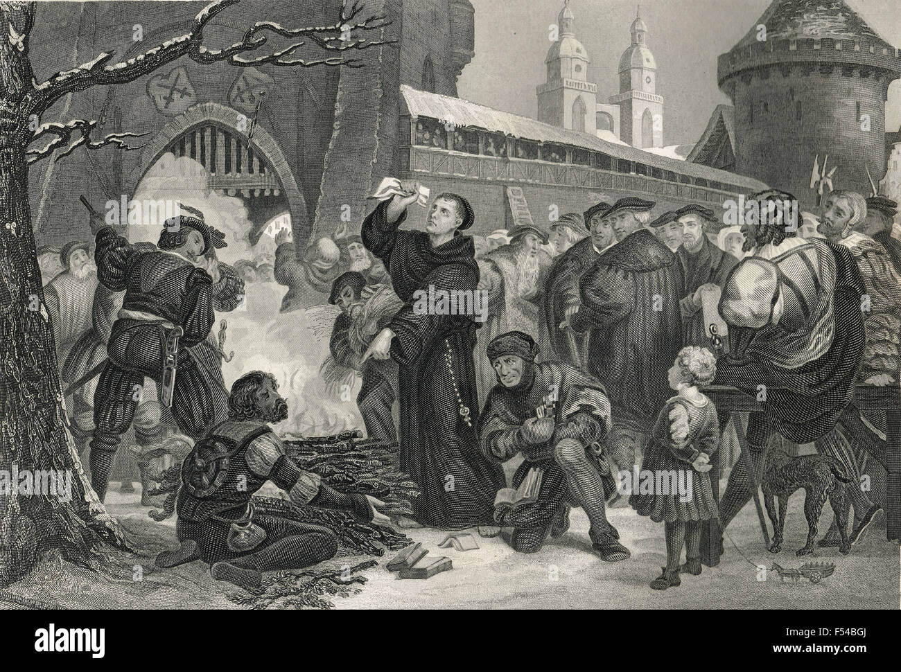 Luther burning the Papal Bull December 10 1520 - Stock Image