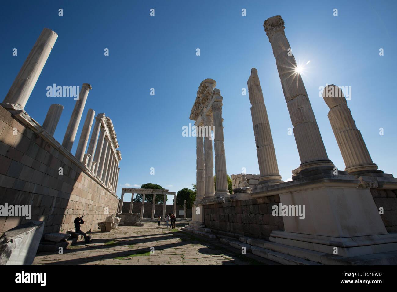 The UNESCO World Heritage Hellenistic Greco-Roman site of the Pergamon acropolis, near Bergama, in Izmir Province, - Stock Image