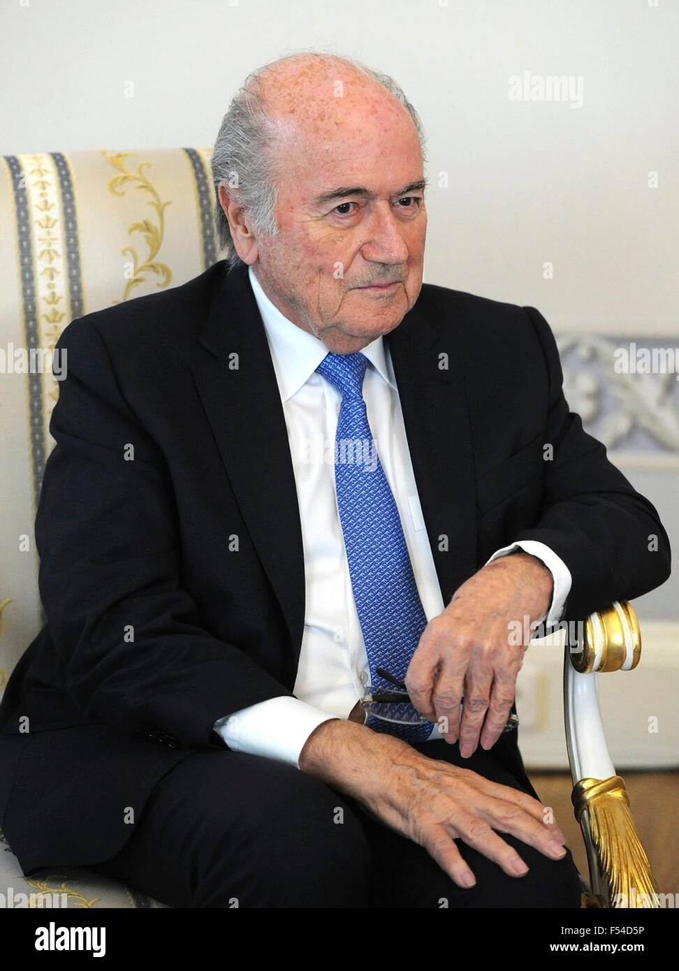 President of the International Federation of Football Associations Sepp Blatter during a meeting with Russian President - Stock Image